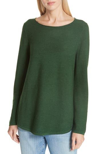Eileen Fisher Ballet Neck Fine Gauge Merino Tunic Sweater, Green