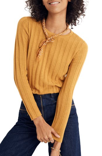 Madewell's take on a '90s pullover, this ribbed sweater has a made-for-layering slim fit and cool ruffled edges on the cuffs. Style Name: Madewell Clarkwell ...