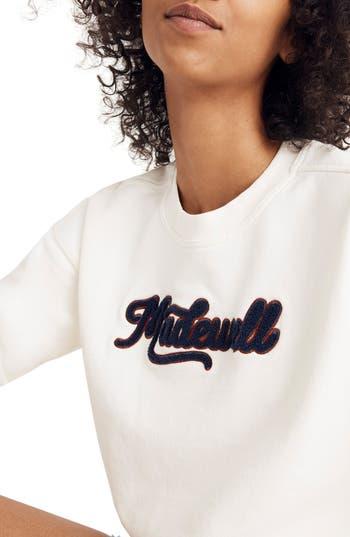 Madewell Embroidered Varsity Sweatshirt, Ivory