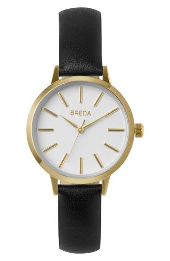Breda Joule Slim Leather Strap Watch, 30Mm