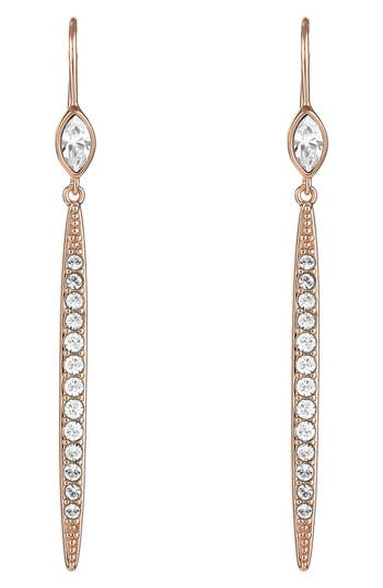 ADORE Linear Crystal Bar Earrings, Rose Gold