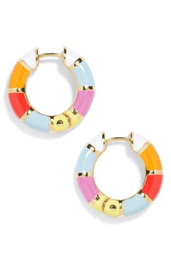 60s -70s Jewelry – Necklaces, Earrings, Rings, Bracelets Womens Baublebar Manila Enamel Small Hoop Earrings $36.00 AT vintagedancer.com