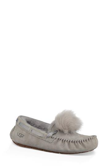 Ugg Dakota Genuine Shearling Pompom Slipper, Grey
