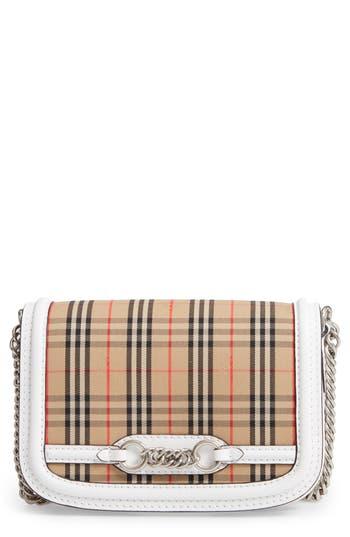 Burberry Vintage Check Link Flap Crossbody Bag - White