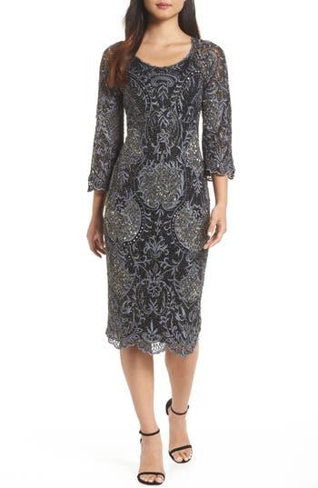 Pisarro Nights Embroidered Scallop Edge Midi Sheath Dress, Black