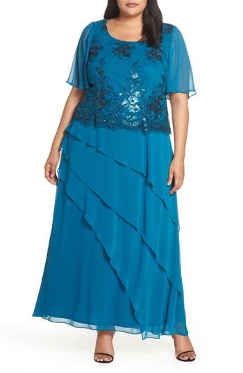 1930s Art Deco Plus Size Dresses | Tea Dresses, Party Dresses Plus Size Womens Brianna Embroidered Sequin Gown $158.00 AT vintagedancer.com