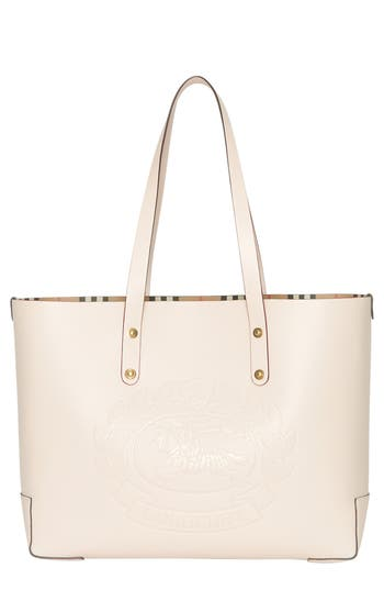 Burberry Embossed Crest Small Leather Tote - Ivory