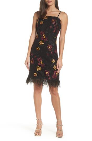 Sam Edelman Feather Trim Embroidered Mesh Sheath Dress, Black