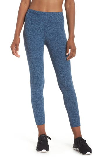 Oiselle Lux Flow Crop Leggings, Blue