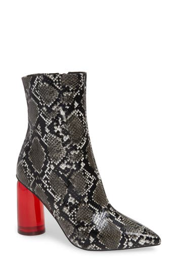 Lustful Bootie, Black Grey Snake/ Red Combo