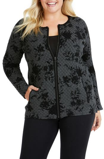 FOXCROFT Adina Quilted Jacquard Jacket in Black