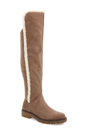Sole Society Juno Faux Shearling Trim Boot, Beige
