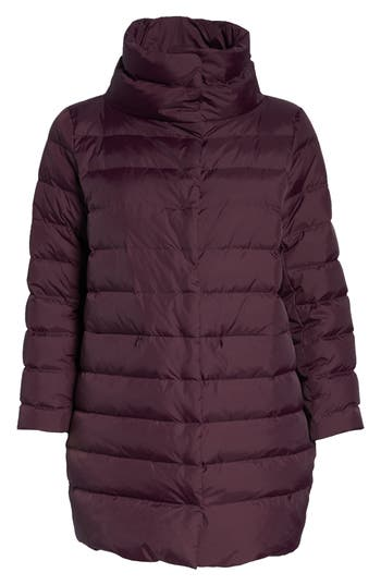 Plus Size Eileen Fisher Stand Collar Cocoon Down Coat, Purple