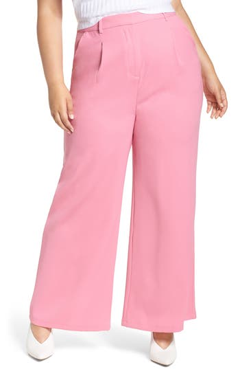 Plus Size Leith High Waist Flare Pants, Pink