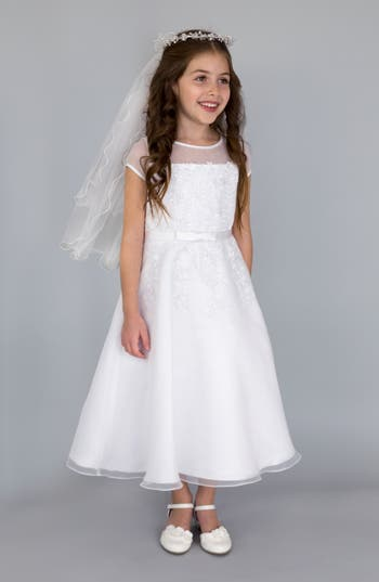 Girl's Us Angels Illusion Neckline Fit & Flare Dress