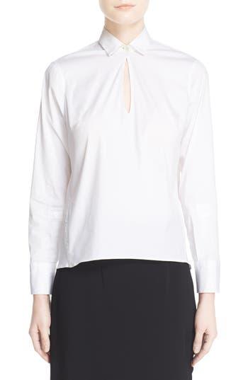 Women's Eleventy Keyhole Neck Poplin Shirt