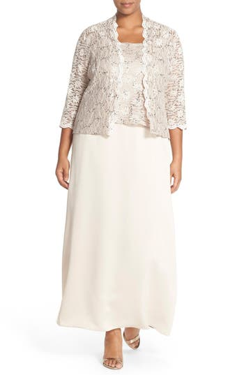 Plus Size Women's Alex Evening A-Line Gown & Lace Jacket, Size 20W - Beige