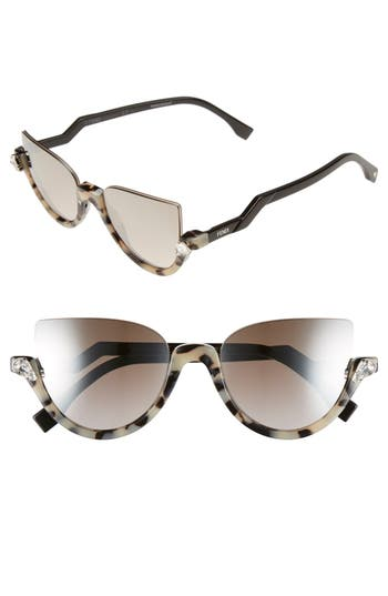 Women's Fendi 52Mm Sunglasses - Havana/ Shiny Black