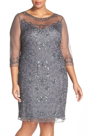 Plus Size Vintage Dresses, Plus Size Retro Dresses Plus  Pisarro  Illusion Neck Beaded Shift Dress Size 24W - Grey $188.00 AT vintagedancer.com