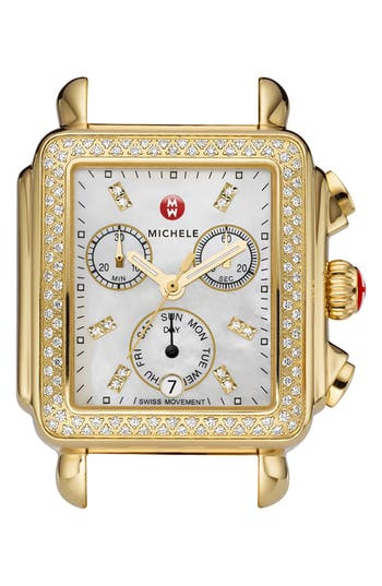 Women's Michele Deco Diamond Diamond Dial Gold Plated Watch Case, 33Mm X 35Mm