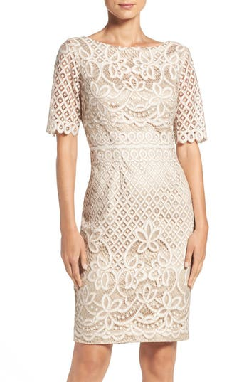 Eliza J Lace Sheath Dress, White
