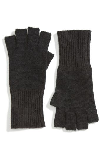 Women's Halogen Cashmere Fingerless Gloves, Size One Size - Black