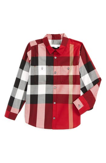 Boy's Burberry 'Mini Camber' Check Long Sleeve Shirt