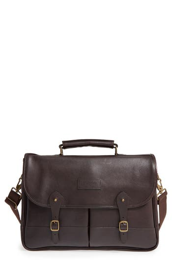 Men's Barbour Leather Briefcase -