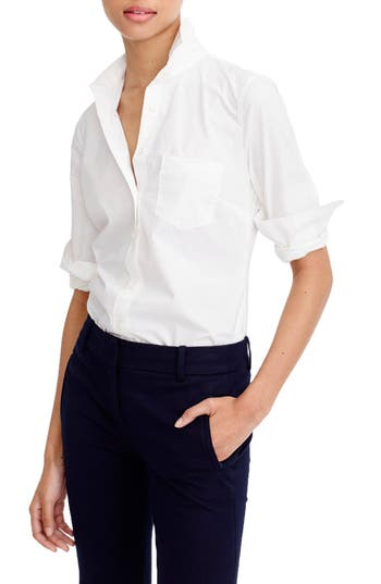 Petite Women's J.crew New Perfect Cotton Poplin Shirt