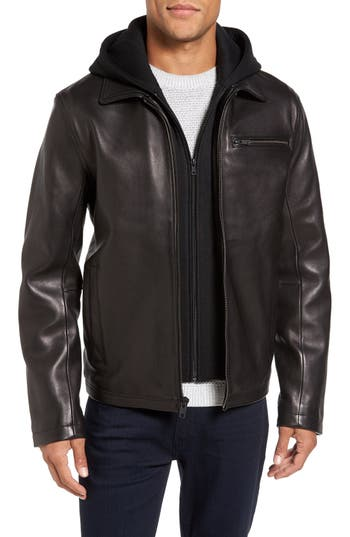 Men's Vince Camuto Leather Jacket With Removable Hooded Bib