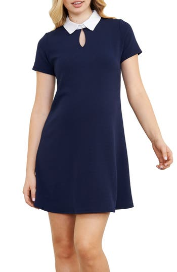 Vintage Style Maternity Clothes Womens Maternal America Contrast Collar Maternity Dress Size Small - Blue $74.40 AT vintagedancer.com