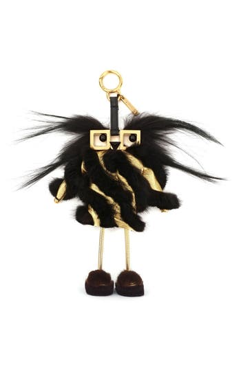 FENDI Hypnoteyes Mink Fur & Metallic Leather Phone Charging Witch Key Charm in Black-Gold