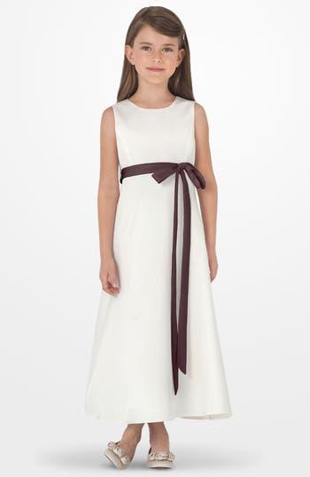 Girl's Us Angels Sleeveless Satin Dress, Size 7 - Brown