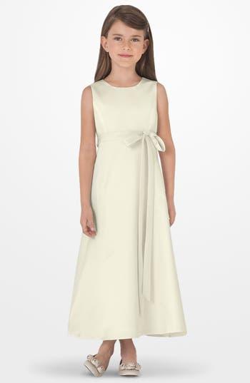 Toddler Girl's Us Angels Sleeveless Satin Dress, Size 2T - Ivory