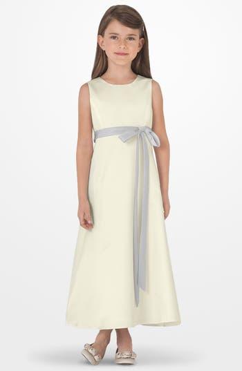 Girl's Us Angels Sleeveless Satin Dress, Size 4 - Metallic