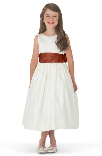 Girl's Us Angels Sleeveless Satin Dress With Contrast Sash, Size 4 - Brown