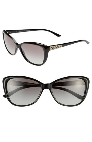 Women's Versace 'Rock Icons - Greca' 57Mm Butterfly Sunglasses - Black