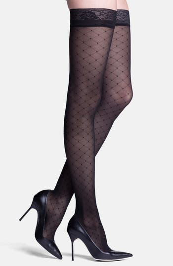 Women's Insignia By Sigvaris 'Starlet' Diamond Pattern Compression Thigh Highs