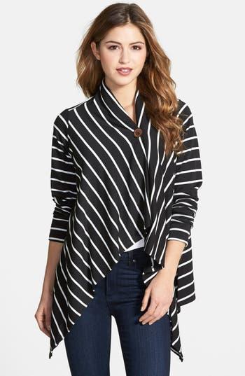 Petite Women's Bobeau One-Button Fleece Wrap Cardigan, Size Medium P - Black