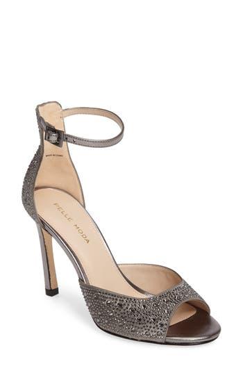 Pelle Moda Crystal Embellished Ankle Strap Sandal, Grey