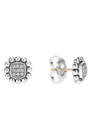Women's Lagos Caviar Spark Diamond Square Stud Earrings