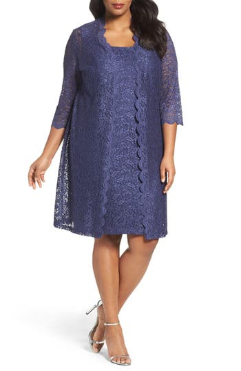 Plus Size Women's Alex Evenings Lace Jacket Dress, Size 14W - Purple