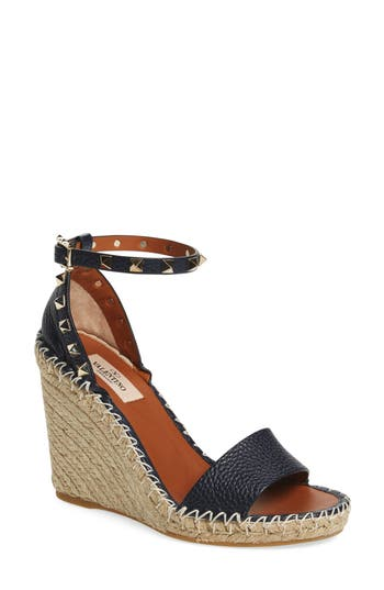 0ed78ad41d69 Valentino  Rockstud  Espadrille Wedge In Blue Leather