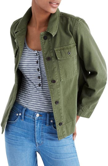 Women's Madewell Northward Crop Army Jacket, Size X-Small - Green
