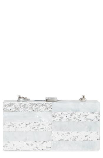 Milly Acrylic & Glitter Box Clutch - White