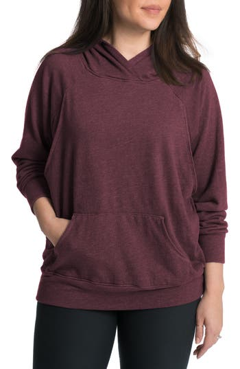 Women's Bun Maternity Relaxed Daily Maternity Nursing Hoodie, Size Large - Red