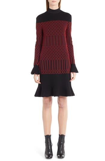 Women's Fendi Lozenge Knit Flutter Hem Dress, Size 2 US / 38 IT - Red