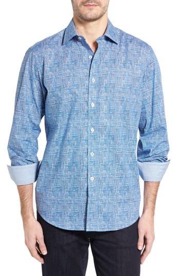 Men's Bugatchi Classic Fit Weave Print Sport Shirt
