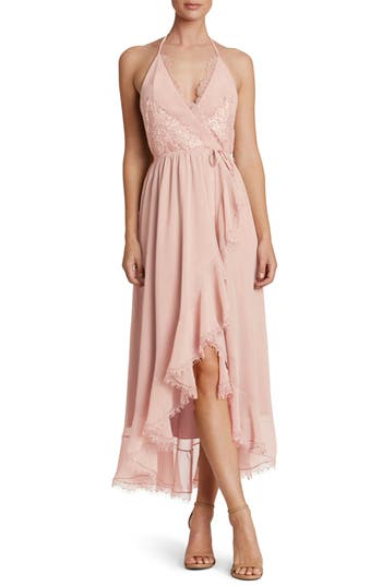 Women's Dress The Population Gia Backless Chiffon Wrap Dress, Size X-Small - Pink