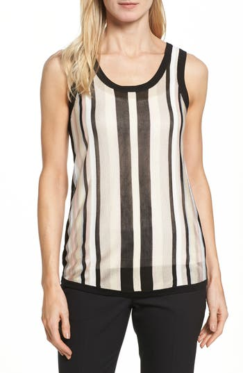 Women's Anne Klein Stripe Sweater Tank, Size Large - Black